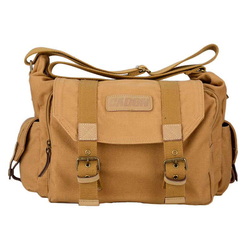 Waterproof Caden F1 Brown Vintage Canvas DSLR Camera Bag Case Shoulder Messenger bag for Nikon Sony Canon Pentax Fuji