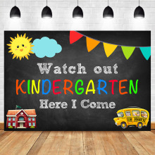 NeoBack Watch out Kindergarten Photography Backdrops School Bus School Here i co