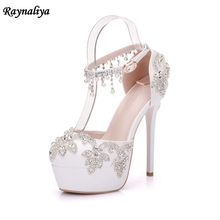 цены Lady Thin High Heels Sandals Shoes New Ankle Strap Multicolor Rhinestone Party Dress Pumps Bride Wedding Platform Shoes XY-A0084