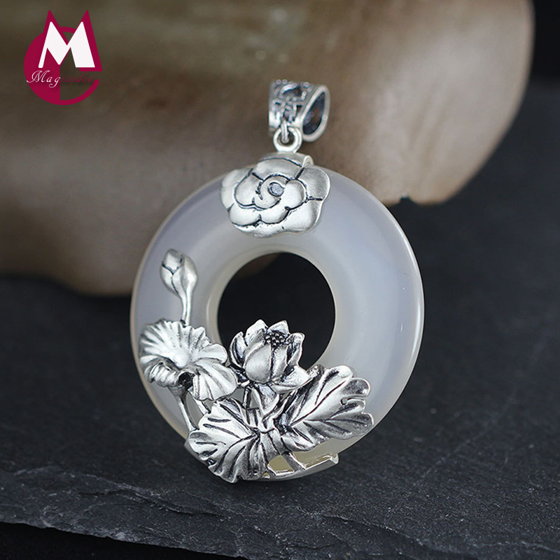 Pendant Women Fine Plant Natural Stone Chalcedony Jade Pendant Silver 925 Jewelry Vintage Thai Silver Lotus Leaves Flower SP23 925 sterling silver women lapis beads yellow chalcedony lotus leaves pendant necklace rope chain thai silver jewelry ch057271