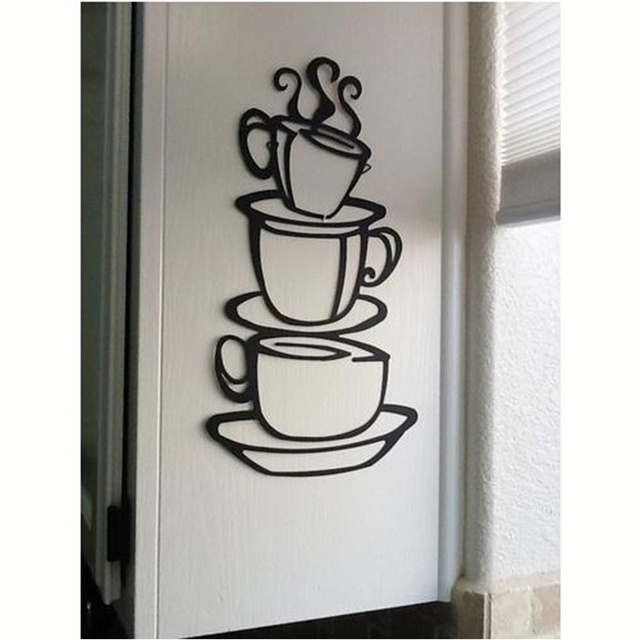 3 coffee cups creative wall art decal removable vinyl wall sticker