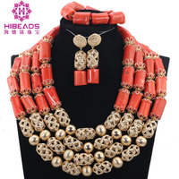 Fashion 4 Layers Coral Beads Necklace Jewelry Gold Accessory Dubai Party Engagement Jewelry Set Free Shipping CNR811