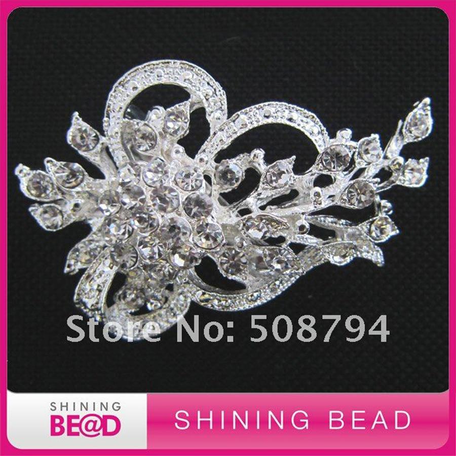 50pcs/lot+35*55mm+ Fashion Bridal Crystal Rhinestone Silver & Gold Plated Pins Brooch