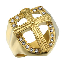 HIP Hop Knights Templar Armor Crusader Cross Rings Titanium Stainless Steel Iced Out Crystal Gold Signet Rings for Men Jewelry