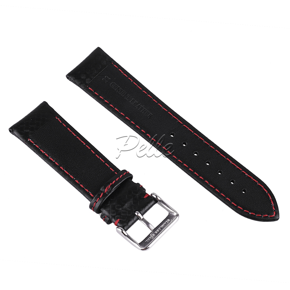 Pelle 20mm 22mm Waterproof Carbon leather Watch Band Replacement Watch Strap Black Reticulated Leather Strap in Watchbands from Watches