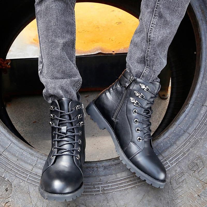 De Genuíno Masculinos Sapatos 2018 Homens Tático Couro Marca Da Top Dos Mycolen Luxo Preto Inverno Militares Casual Moda As Botas Do n60nqCZw