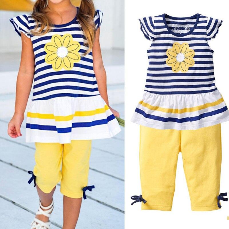 Новые комплекты одежды для девочек Дейзи Лето футболка в полоску с короткими рукавами + Брюки для девочек одежда для малышей z248