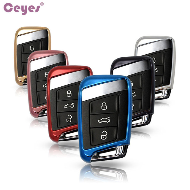 Ceyes Soft TPU Protection Remote Key Cover Case For Skoda Superb A7 For Volkwagen Passat B8 VW Golf Gte Car Styling Accessorise