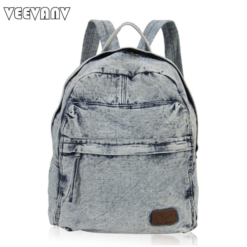 2017 Fashion Rucksack Women Backpack Female Casual Travel Backpack School Laptop Bag Jeans Canvas Vintage Shoulder Bag for Girls
