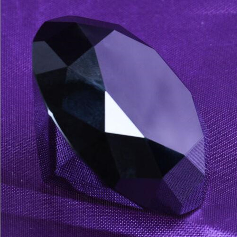 Wholesale Brilliant 80mm 1pcs Black Crystal Diamond Paperweight Crystal Diamond Gifts Home Decoration Gem Toys