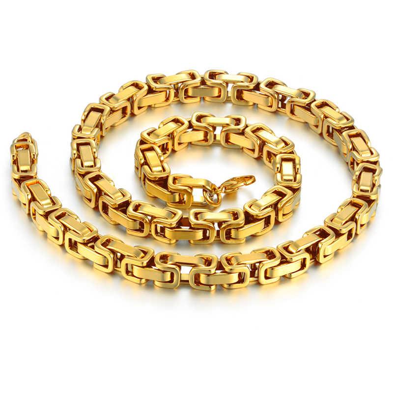 """Męska złoty naszyjnik łańcuch 20 """"23"""" 26 """"mężczyzna Corrente złoty kolor ze stali nierdzewnej naszyjnik ze stali bizantyjski łańcuchy dla mężczyzn biżuteria 2018"""