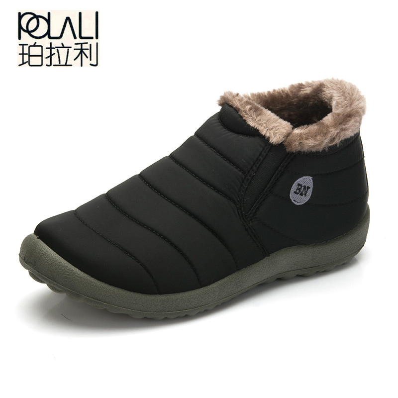 POLALI  Autumn Winter Casual Snow Boots Men Waterproof Ankle Boots Flat Slip-Resistant Fashion Man Winter Shoes Big Size 48