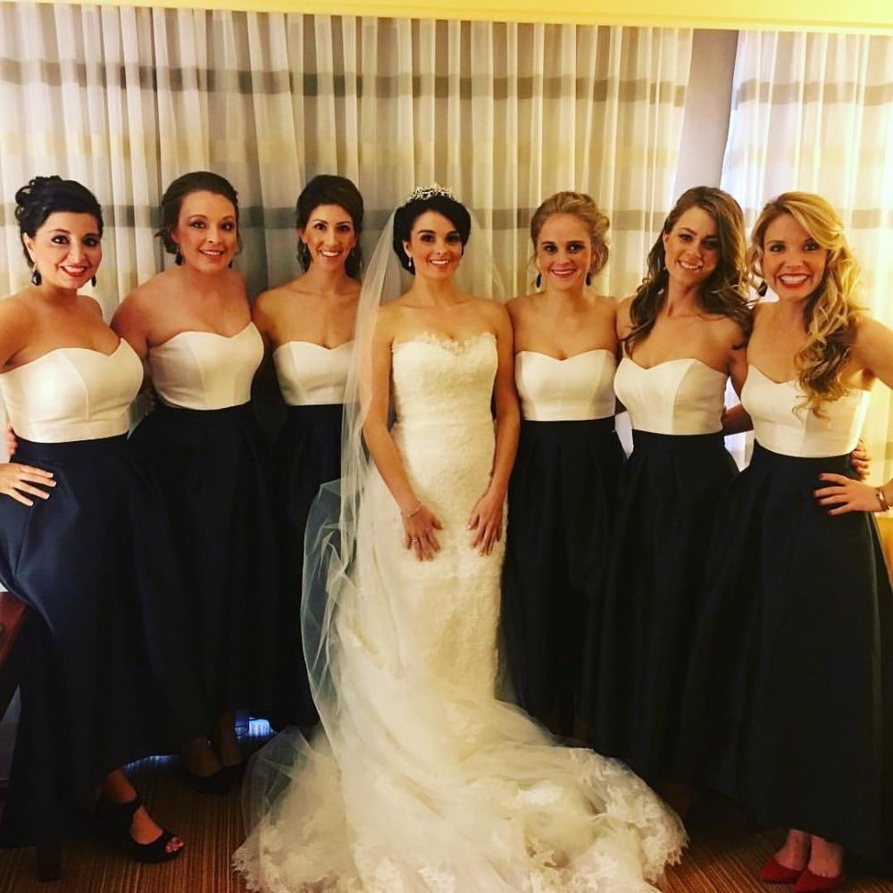 Ivory and Black Two Tone Bridesmaid Dresses Custom Made Elegant Special Design Tea Length Girl