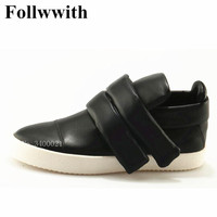2018 Newest Fashipm Black Leather Hook Loop High Top Men Casual Shoes Top Quality Luxury Brand