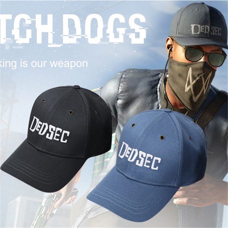 High Quality Watch Dogs 2 Aiden Pearce Cap Costume Cosplay Watch Dogs 2 Hat Baseball Caps Halloween Christmas Gift 2 Colors new 2017 watch dogs aiden pearce black baseball cap sun hat cosplay adjustable strap snapback cap men