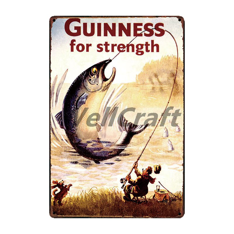 WellCraft Guinness Fish Bird SUN Metal Signs Wall Poster Plaque Custom Painting Antique Gift Vintage bar Pub Decor LT 1697 in Plaques Signs from Home Garden