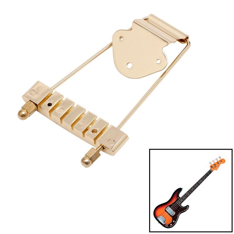 golden guitar tailpiece trapeze open frame bridge for 6 string archtop guitar basses parts. Black Bedroom Furniture Sets. Home Design Ideas