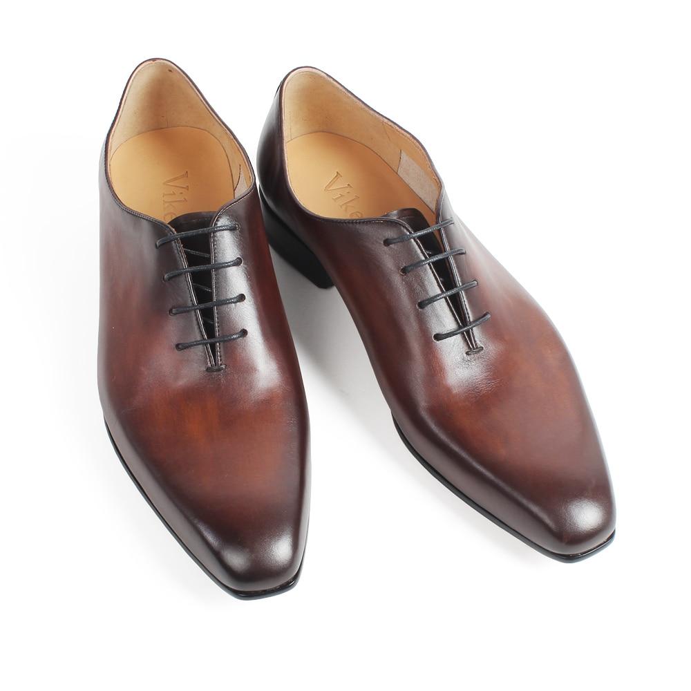 Handmade Formale Brown Hochzeit Leder Oxford Schuh Zapatos Schuhe Neue 2019 Büro Patina Echtes Kleid Fashion Vikeduo Männer wazAxA