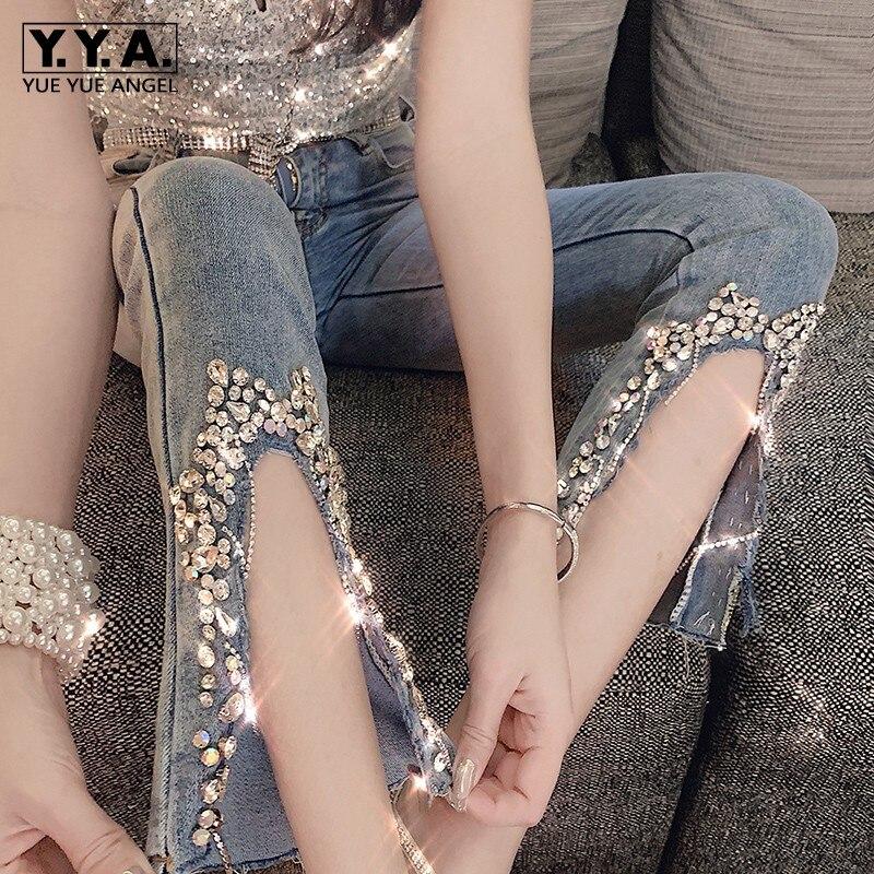 Beading High Waist Jeans Women 2019 New Split Slim Fit Flare Trousers Fashion Elegant Street Zipper Denim Wide Leg Pants S-L