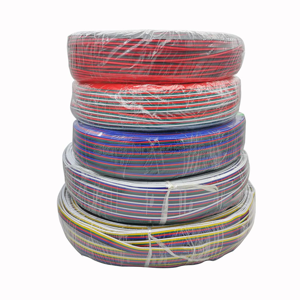 1m/5m/10m/20m LED Cable Extension Wire Cord Connector 22AWG 2Pins 3Pins 4Pins 5Pins 6Pins For RGB RGBW Single Color LED Strips