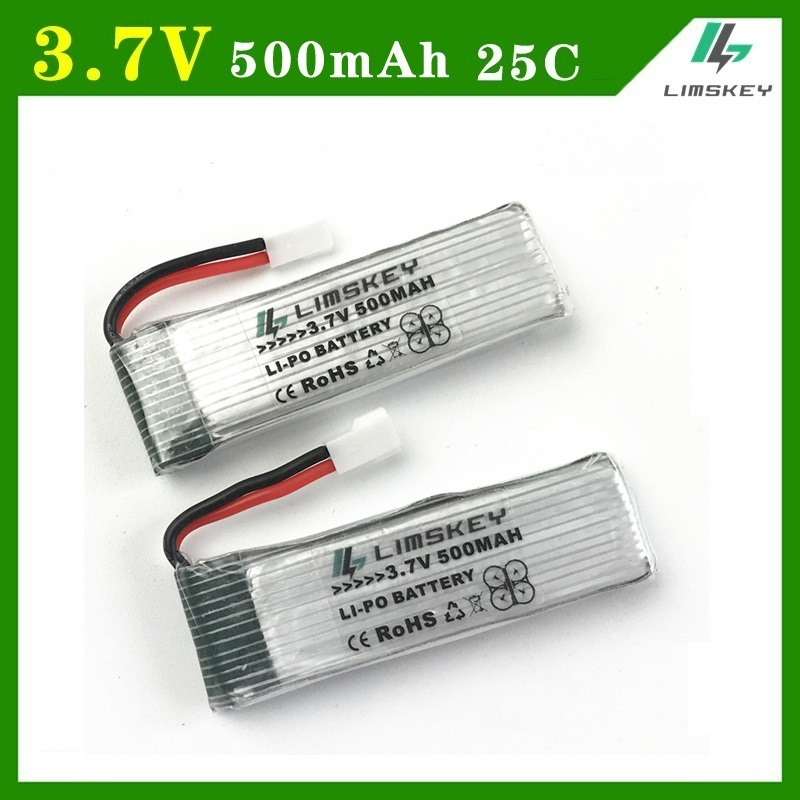 SUPER 2pcs/set <font><b>3.7V</b></font> <font><b>500mah</b></font> 25c <font><b>Lipo</b></font> <font><b>Batteries</b></font> For H37 E50 <font><b>3.7v</b></font> <font><b>battery</b></font> RC Helicopter <font><b>Drone</b></font> For Wltoys V930 V977 V988 Spare Part image