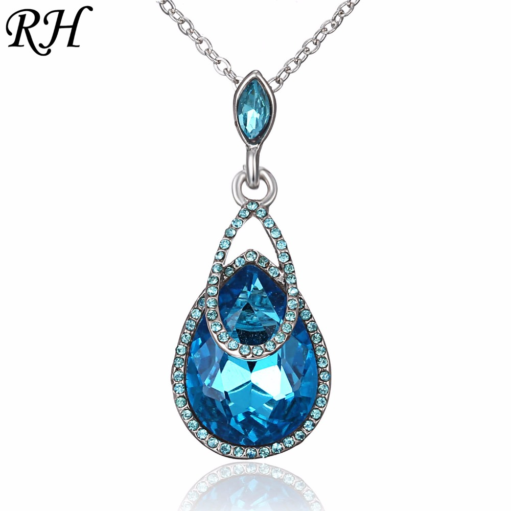 Fashion Blue Crystal Water Drop Necklace For Women Jewelry Simple Cubic Zirconia CZ Pendant accessories Long Necklace Chain