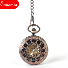 Rose Gold Mechanical Hand Winding Cool Military Pocket Watch Men Cool Luxury Gift Women Fashion Watch With Key Chain