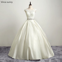 Vinca Sunny 2017 Vestido De Noiva Real Photo Sweetheart Neckline Crystal Beaded Sashes Lace A Line