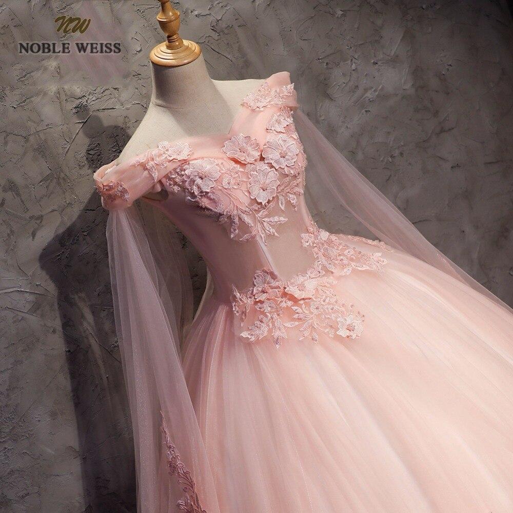 NOBLE WEISS robe de bal Quinceanera robes de haute qualité Appliques perles longueur plancher rose Tulle Sexy formelle robe de bal - 4