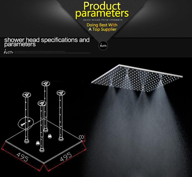 hm 20\'\' Multi Function Led Light Shower Head Ceiling Rain Shower SUS304 Mirror LED Rainfall & SPA Mist Massage Shower Heads (1)