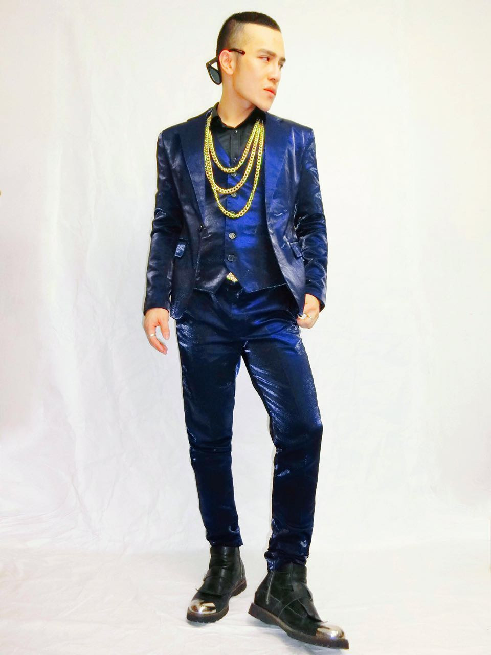 New mens spring blue red three-piece suits set nightclub stage host singer costume suit (coat + vest + pants)