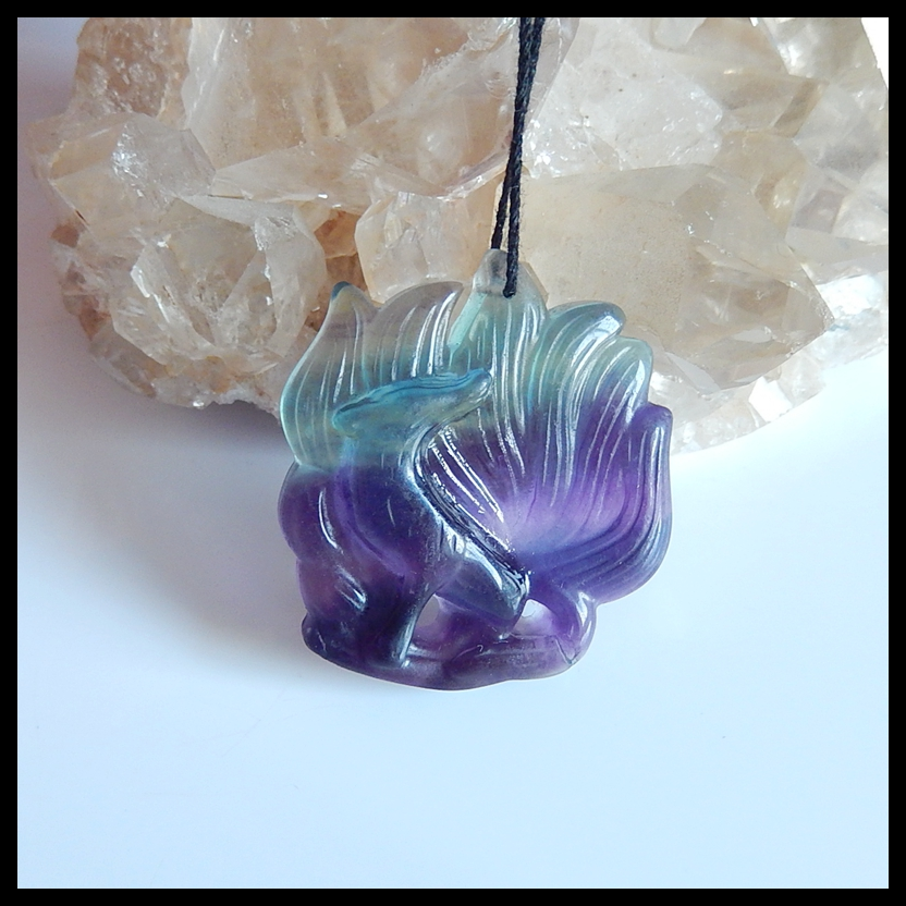 Natural Carved Animal Rainbow Fluorite Semi-precious stones, Jewelry accessories fashion pendants necklace ,41x37x9mm,20.8g