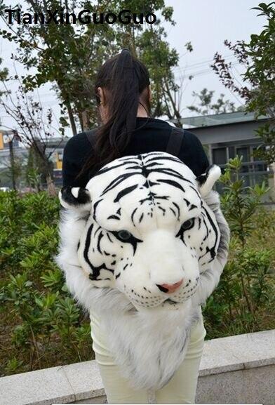 Sac à dos en peluche tête de tigre blanc simulation, belle bibliothèque de mode 60x40x30 cm, cadeau d'anniversaire w4567