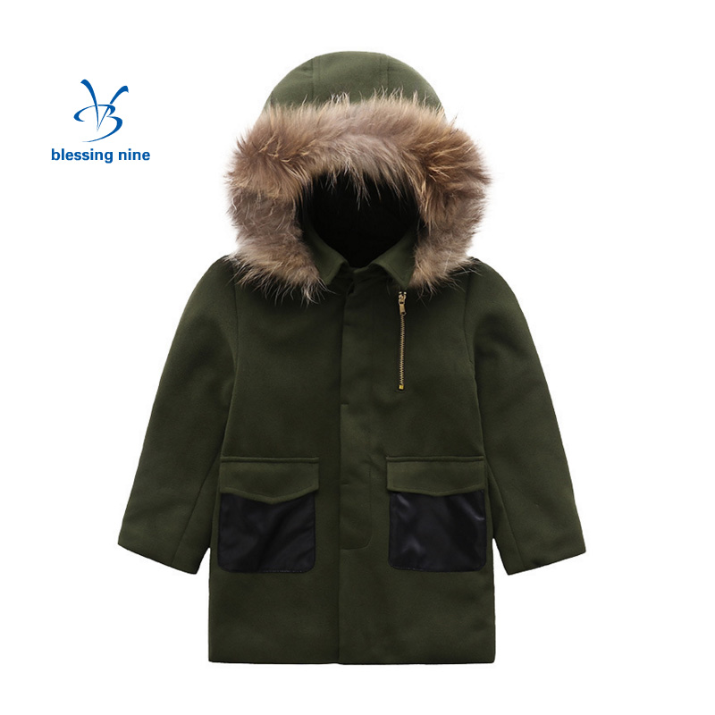 Children Clothing 2017 New Autumn and Winter Fur Collar Coat Boys Jackets Kids Outerwear Warm Wool Coat Hooded Jacket 2017 new children and adolescents autumn