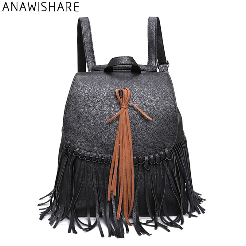 d507945566 ANAWISHARE Women Leather Backpacks Tassel Daily Backpacks School Bags For  Teenagers Girls Bookbags Mochila Feminina Escolar