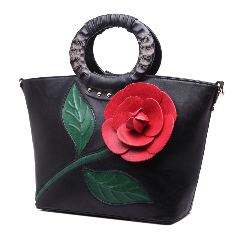Women Embossing PU Leather Handbag Rose Flower Bags Large Capacity Lady Fashion Casual Bags Vintage Crossbody Totes High QualityWomen Embossing PU Leather Handbag Rose Flower Bags Large Capacity Lady Fashion Casual Bags Vintage Crossbody Totes High Quality