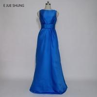전자 JUE SHUNG 로얄 블루 새틴 이브닝 드레스 긴 국자 라인 정장 드레스 신부 드레스