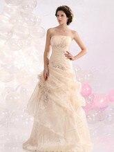 Lange Abendkleid A-linie Organza Lace-up Trägerlosen Rüsche Rock Prom Kleider Mit Perlen Benutzerdefinierte Größe