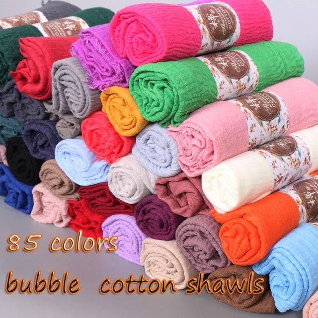 LMLAVEN Crinkled hijab plain wrinkle bubble cotton viscose long scarf muslim head hijab shawl women large size crinkle scarves