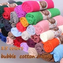 Lmlaven Crinkled Hijab Vlakte Rimpel Bubble Katoen Viscose Lange Sjaal Moslim Hoofd Hijab Sjaal Vrouwen Grote Maat Crinkle Sjaals