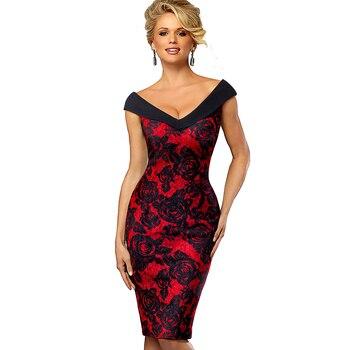 Women Elegant V Neck Pencil Dress 1