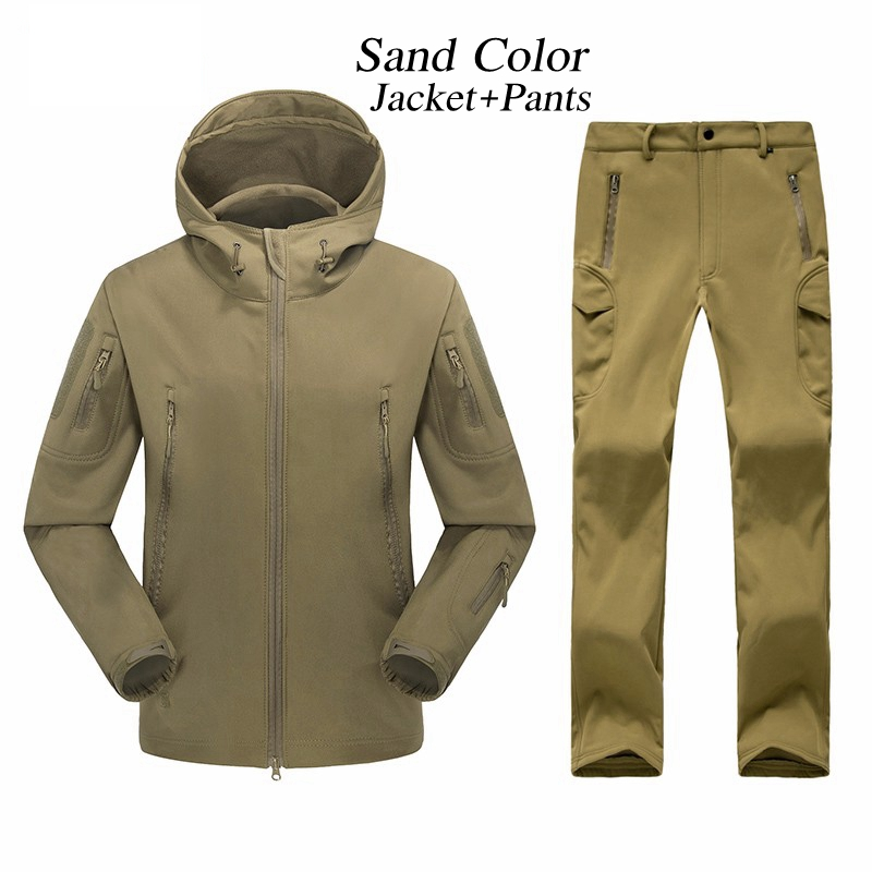 Outdoor Waterproof TAD Gear Tactical Soft Shell Camouflage Set Men Women Sport Hunting Clothes Set Military Jacket + Pants