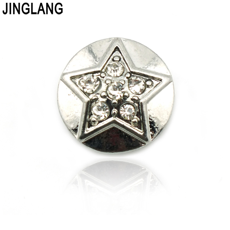 JINGLANG Fashion 18mm Snap Buttons Fit Bracelets Round Five-pointed Star Rhinestone Flower Carved Jewelry