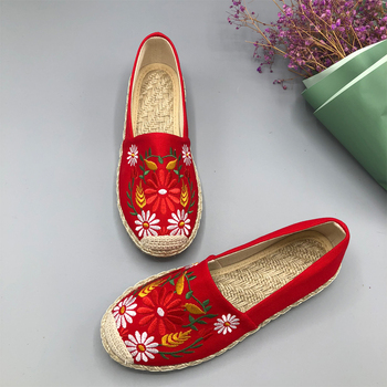 2019 Summer New Women Casual Cotton Fabric Flats Shoes Top Round Toe  Luxury Women Shoes