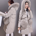 Winter new women's big fake fur collar long down jacket female Korean large size Slim thickening jacket outwear parkas MZ1121