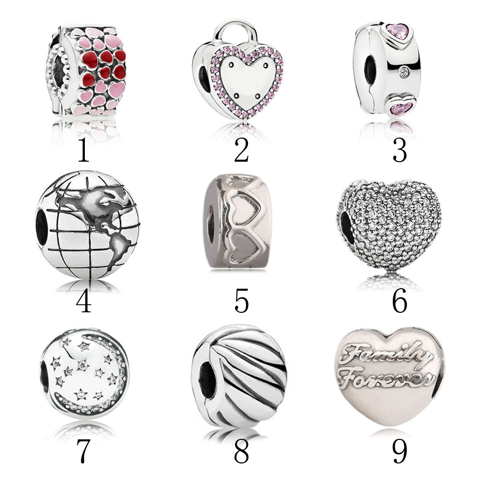 925 Silver Clips fit Pandora Bracelets & Bangle Promise Explosion Burst of Love Globe Row of Hearts Pave Family Clip DIY Jewelry