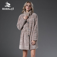 SISILIA 2016 NEW STYLE FUR PARKA CHINA MINK FUR COAT BOTH WEARING 100 NATURAL FUR COAT