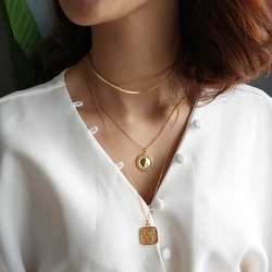 925 sterling silver heart Geometric necklace gold round Glossy surface square card rose flowers pendant necklace for women gift