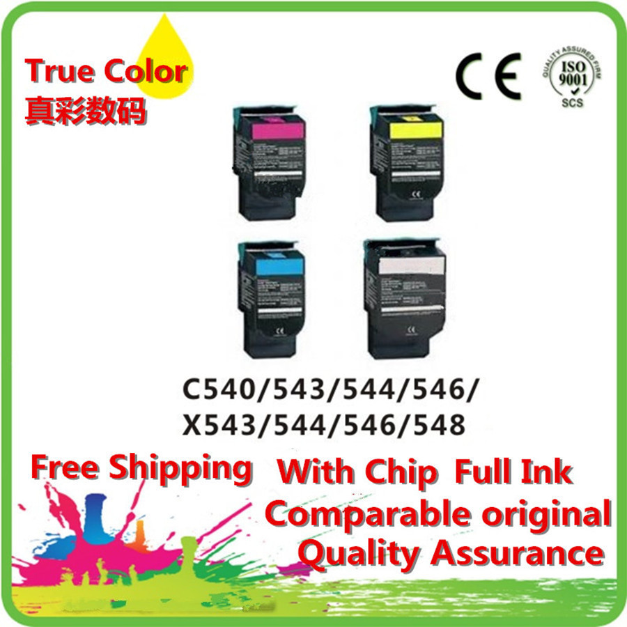 ФОТО compatible toner printer cartridge for Lexmark C540H1KG C540H1CG C540H1MG C540H1YG X543 X544 X546 X548 free Fedex