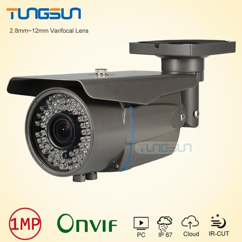 Zoom Varifocal 2.8-12mm Lens cam 720P 960P Network IP Camera Onvif H.264 Bullet Waterproof 78 IR Security Gray/White CCTV Camera